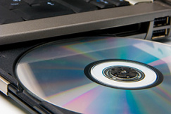 Disc in disc drive of laptop computer